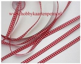 Artikel K1021 rood / wit geblokt  lint 6 mm.