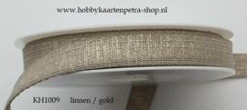 KH1009 Lurex Ribbon Linen/Gold 15mm