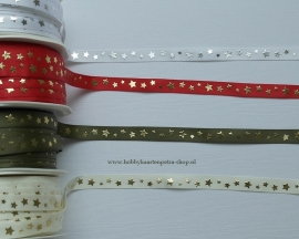 K1053 Christmas stars satijn lint 10mm