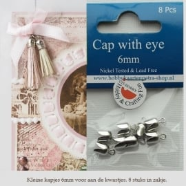 Cap with eye, 6mm platinum