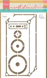 Craft stencil PS8062 Music speaker by Marleen