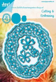 Noor 6002/0632 Blauw Ovaal met bloemen