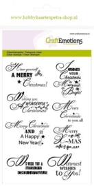 CraftEmotions clearstamps A6 - tekst ENG Christmas wishes