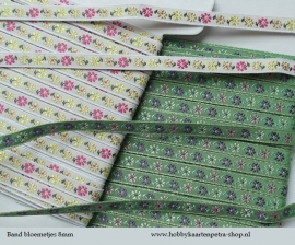 LB1002 Band ( wit of groen ) met kleine bloemetjes 8mm