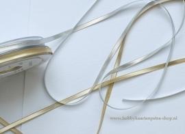 Artikel K1080 Kerst lint zilver en goud 5mm.