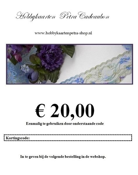 Cadeaubon voor € 20,00