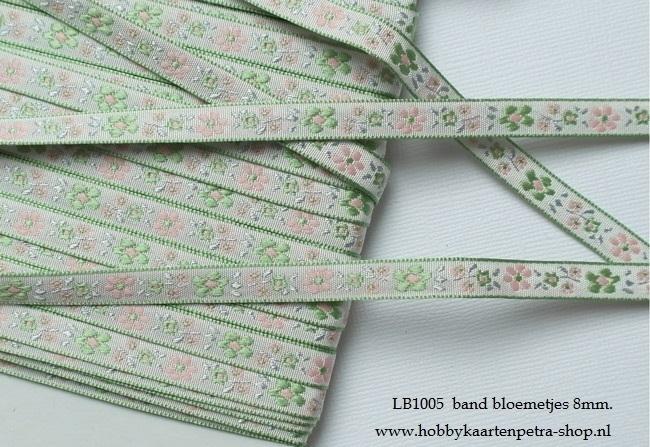 LB1005 Band met kleine bloemetjes 8mm