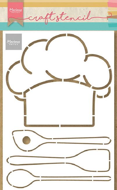 Craft stencil  PS8086 - Chefs hat & utensils