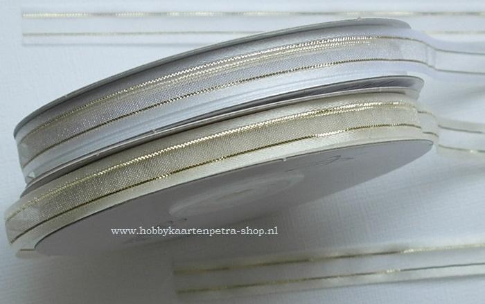 CG1006 organza/satijn lint met goud draad 10mm