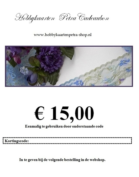 Cadeaubon voor € 15,00
