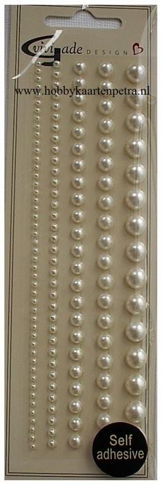 Artikel D109 halve glansparels parelmoer wit