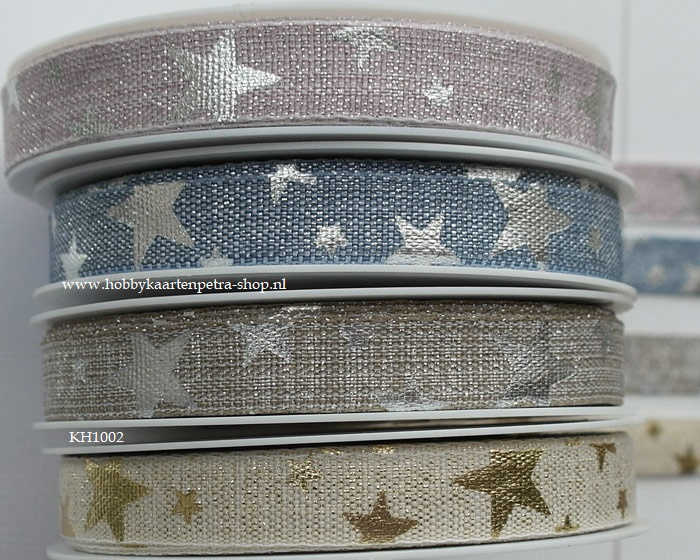 KH1002 Printed Lurex Ribbon Stars 15mm