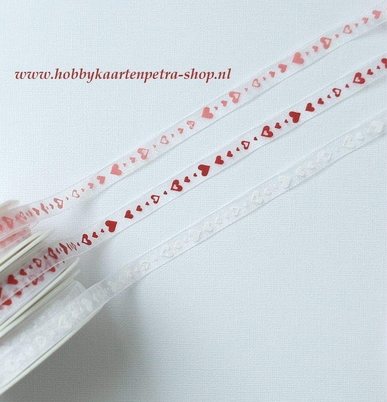 Artikel K1034 wit organza lint met hartjes 10mm