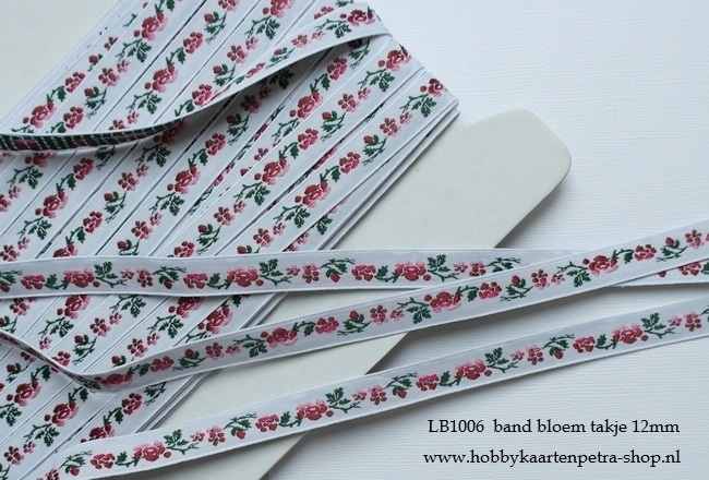 LB1006 Wit band met rode bloemetjes en takje 12mm