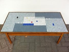 Mid-century jaren 50 teak mozaiek salontafel / Rare mid-century teak mosaik tile table