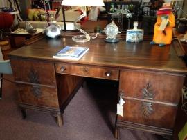 Mid-century vintage desk walnut base with coromandel wood top