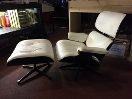Original Eames lounge chair plus ottoman produced by Vitra