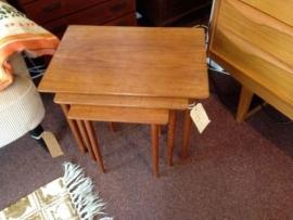 Design vintage teak wooden nesting tables Bramin Danish
