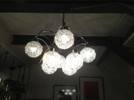 vintage sixties chrome chandelier glass balls 8x