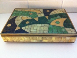 Salvador Teran`s brass Tile & Chicken box 1972