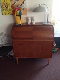 Mid-century roll-top swedish desk vintage teak