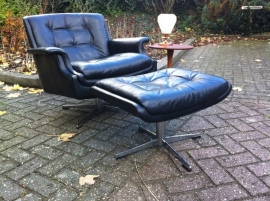 Prachtige vintage de Sede lounge chair plus pouf