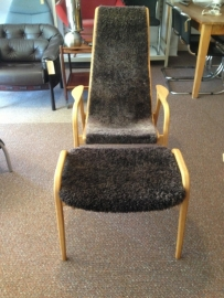 Vintage mid-century Yngve Ekstrom Lamino chair with hocker