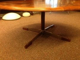 Vintage design teak wooden coffeetable chrome legs with wooden accents