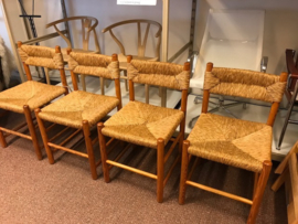 Set of four Charlotte Perriand style wooden rush/straw chairs 4x
