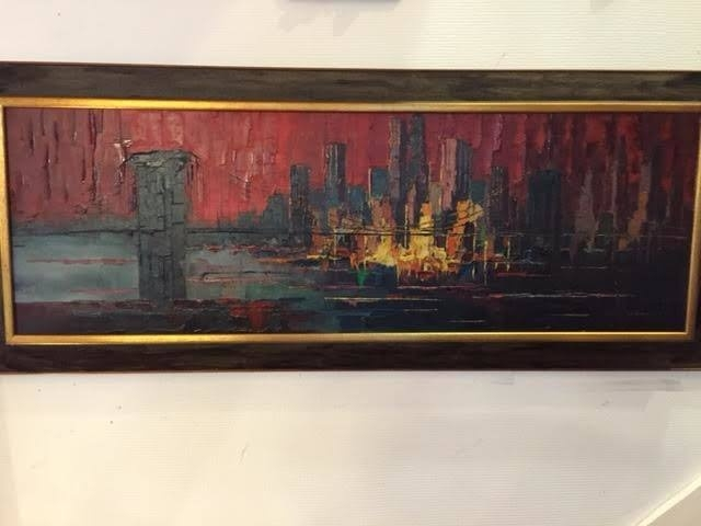 Prachtig vintage design jaren 60 schilderij van J. Bevort  Skyline New York