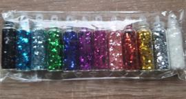 12 flesjes Ronde Glitter Pailletten