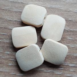 Naturel Vierkante Platte Kraal - 13 x11 mm