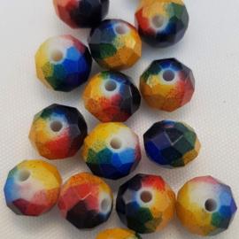 Glaskralen Blauw/Geel/Rood/Oranje & Groen 8 x 6 mm