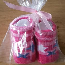 Baby sokjes - Gestreept Roze met sterren