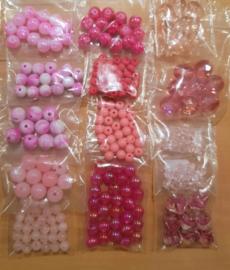 Acryl & Glas Kralen Pakket - Roze