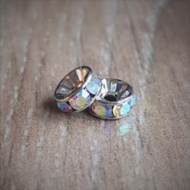 Swarovski Strass Kralen Rondell - Silver Crystal - 8 mm