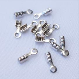 DQ Metaal Veterklem - Antiek Zilver - 1 mm
