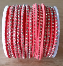 Bright Coral Orange - Strass Zilver