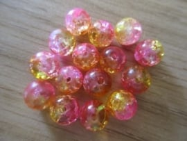Crackle Beads Roze/Geel