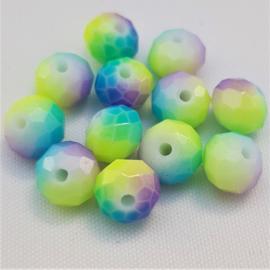Glaskralen Geel/Paars & Turquoise 8 x 6 mm