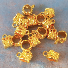 Bail - Gold Plated - Bloem Patroon 12 x 6 mm