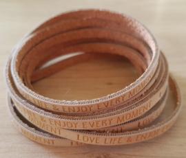 Plat Imitatie Leer - Quote: Love Life - 5 mm