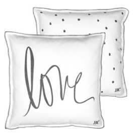Bastion Collection - Cushion 50x50 White/Love in Black & back dots