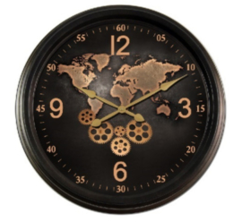 Gear Clock Worldmap Bronze
