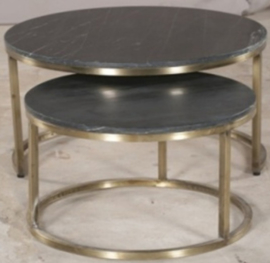 Gold Iron Nesting 2 Table Set Black Marble Top
