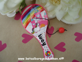 Traktatie tennisplankje Mini Unicorn met naam