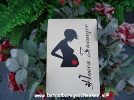 """Houten kaart """"Zwanger"""""""