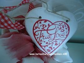 Houten valentijnshart wit