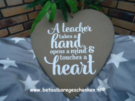 """Houten hart """"Teacher"""""""