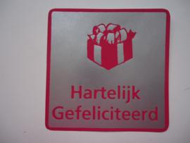 """Sticker roze """"Hartelijk Gefeliciteerd"""""""
